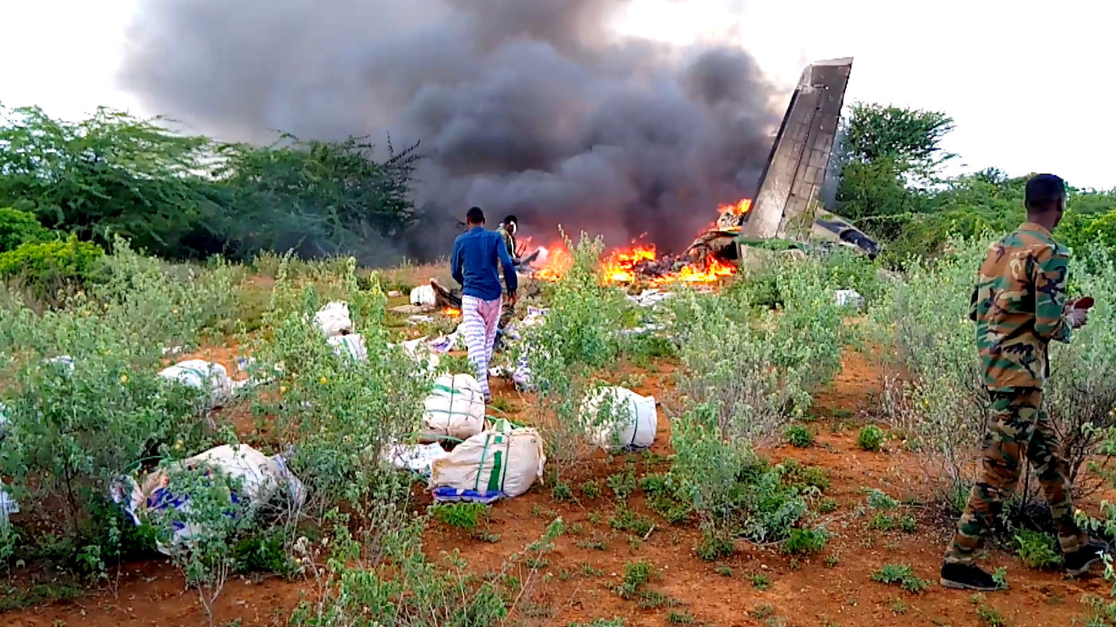 The site of a plane crash in the town of Bardale, Somalia, on Monday. The private cargo plane belonging to African Express Airways was carrying supplies for combatting the coronavirus pandemic.