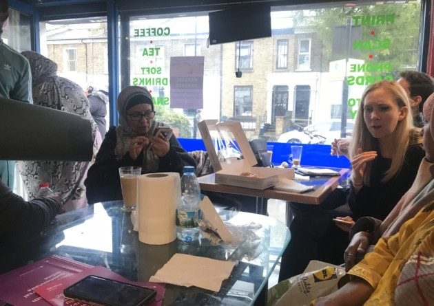 Councillor Caroline Selman speaks with women from the Somali community in Hackney. Picture: Holly Chant