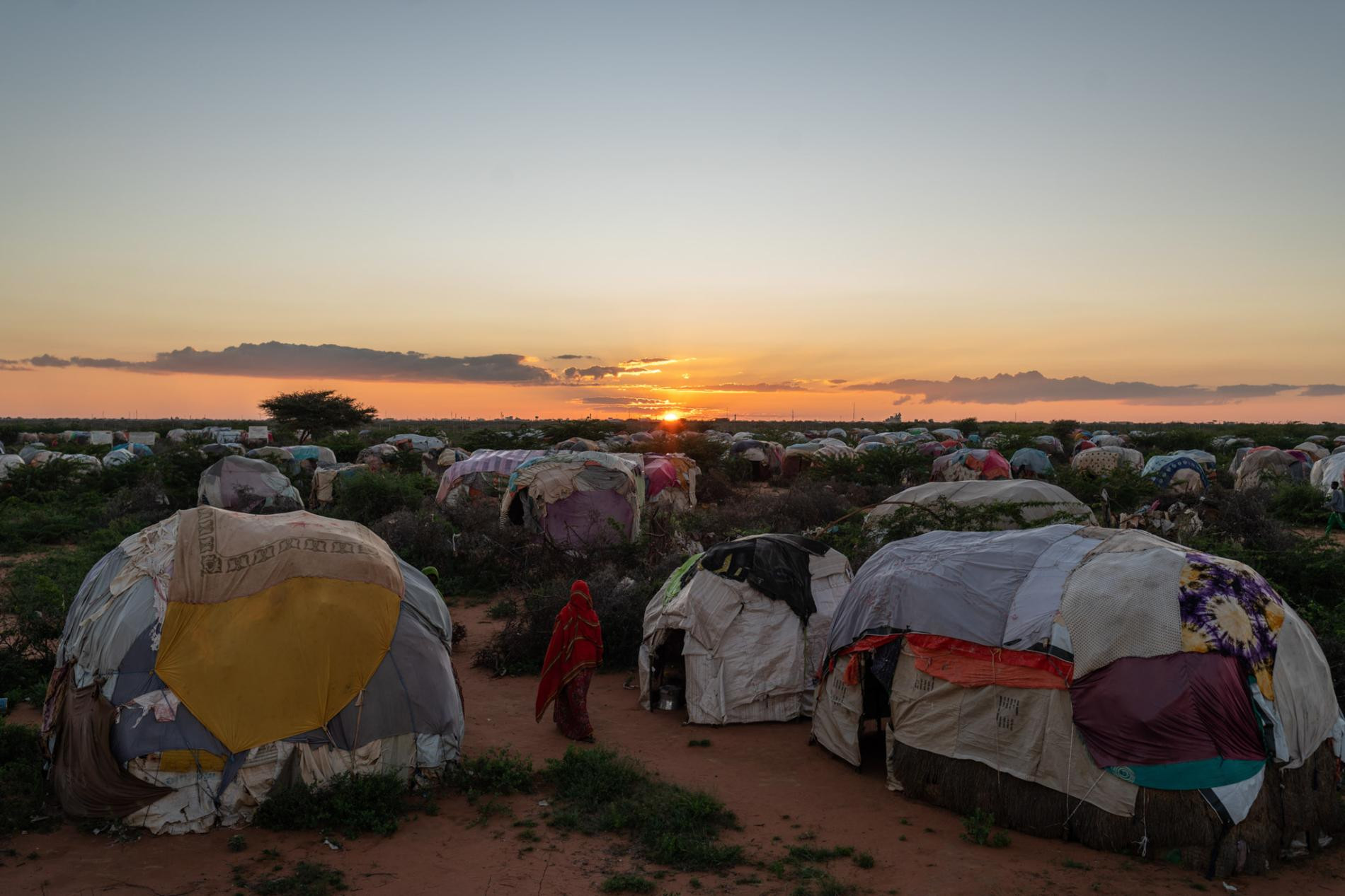 Dusk falls at the Burao IDP camp, one of the largest in Somaliland, holding thousands of former pastoralists whose herds have died in droughts.