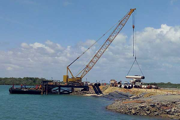 File Photo of construction at the Lamu port.