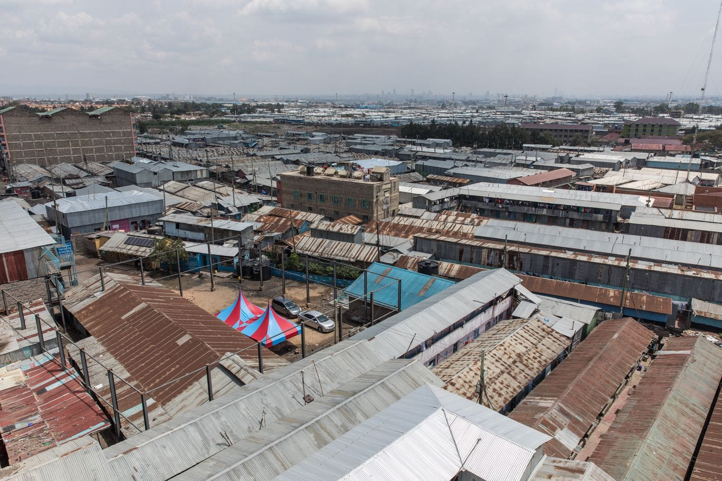 An aerial view of Mukuru kwa Njenga, where Sarah lives and goes to school. (Sarah Waiswa for The Washington Post)