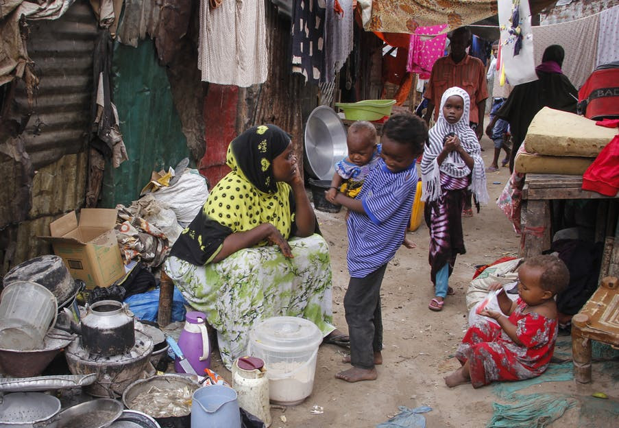 Residents in the Sayidka camp for internally displaced people in Mogadishu, Somalia, in March 2020.
