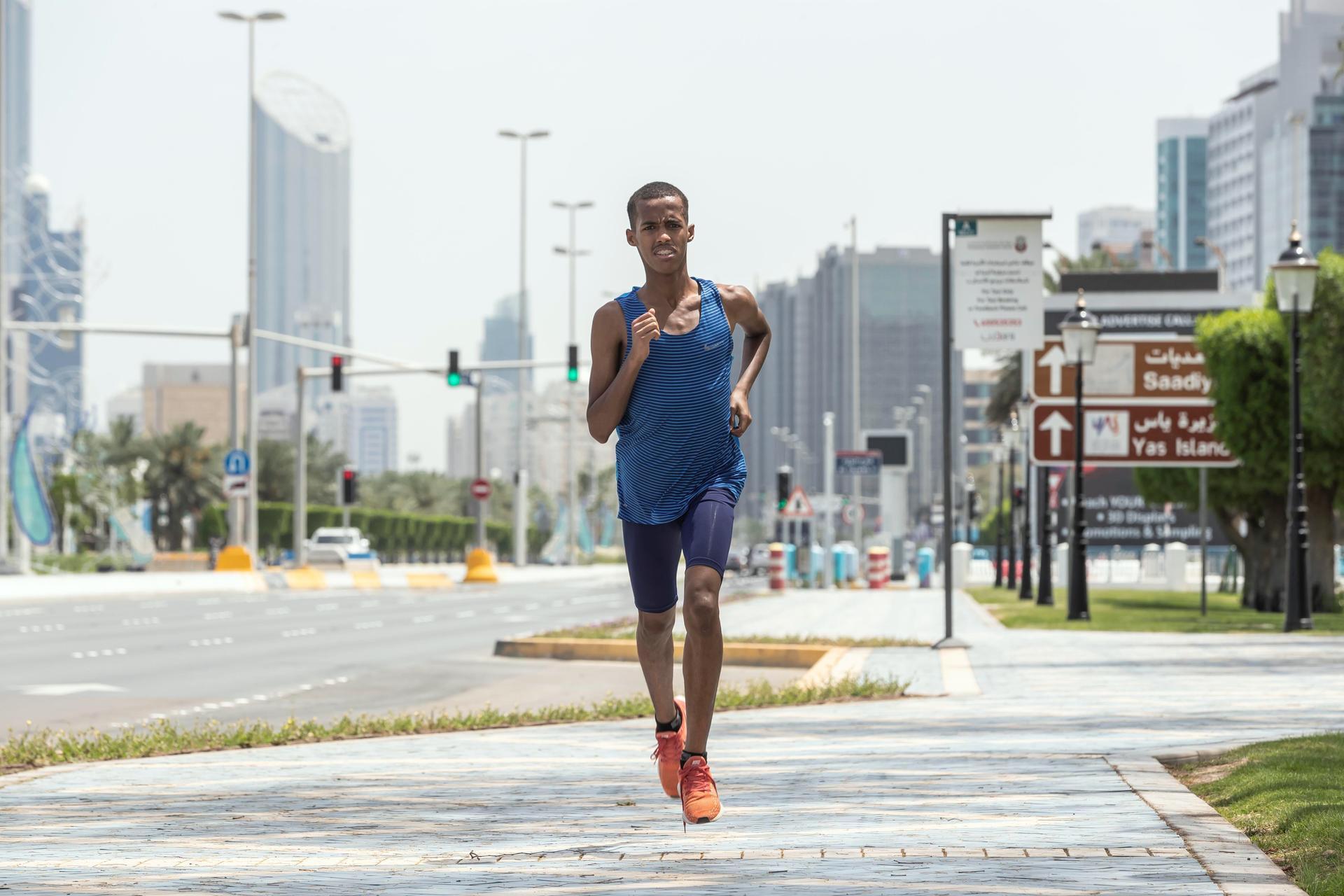 Abdulsalam Farah runs in Abu Dhabi.