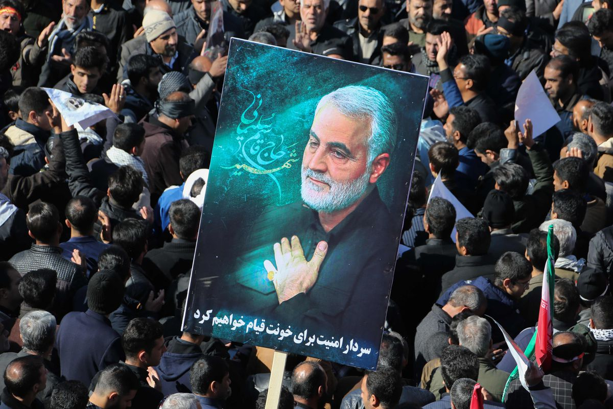 Iranian mourners gather during the final stage of funeral processions for slain top general Qasem Soleimani, in his hometown Kerman on Jan. 7, 2020.