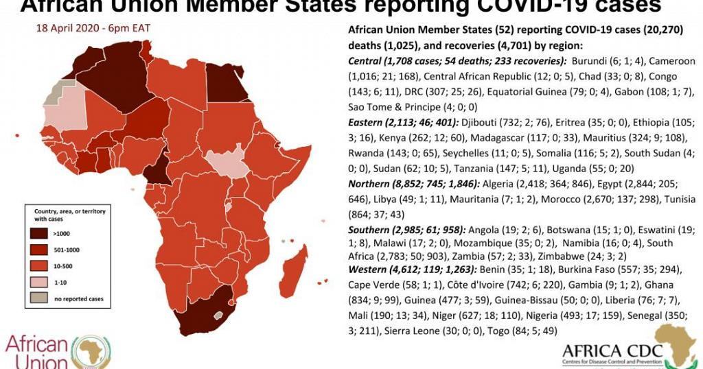 African Union Member States reporting COVID-19 cases, 18 April 2020