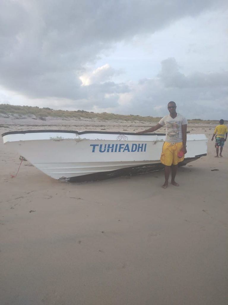 Photo of one of the rescued mirra smugglers saved as his boat was plying the rough Chanu channel in Kiunga area in Lamu despite warnings of rough weather at sea. Photo by KNA.