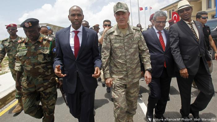 Turkish Chief of Staff, General Hulusi Akar and Somali Prime Minister Hassan Ali Khayre tour a newly-opened Turkey-Somali training center in 2017. Turkey has continued to provide military support in Somalia, including training soldiers