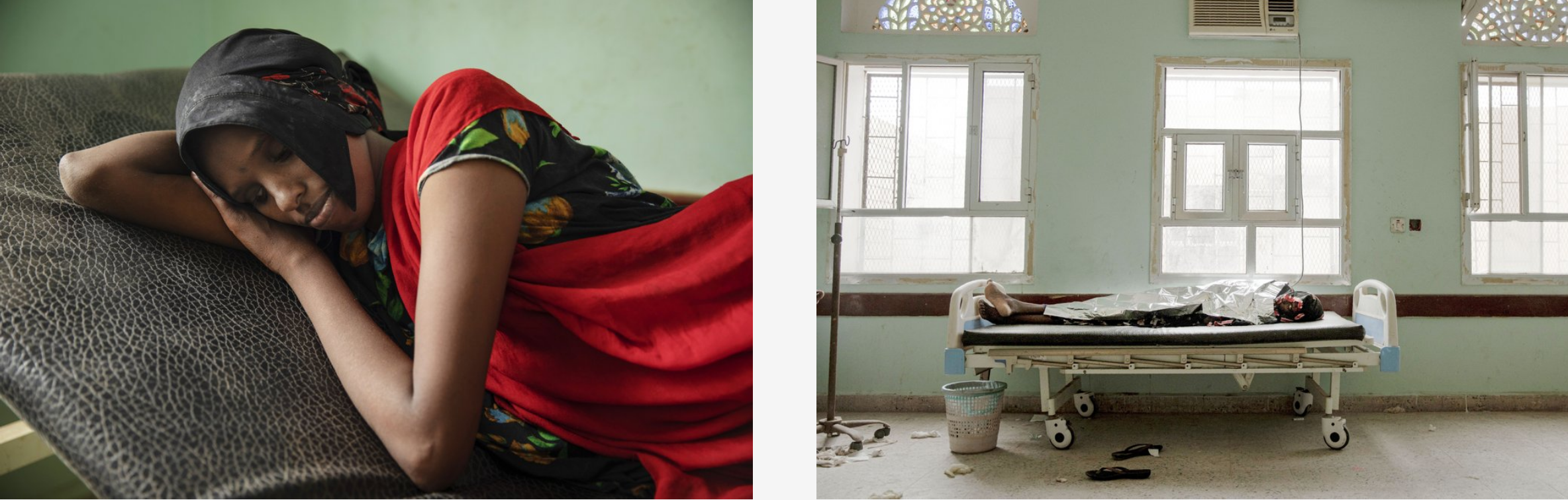 LEFT: In this July 26, 2019 photo, Fadya Mohammed, a migrant from Ethiopia, lays on a gurney after disembarking from a boat and feeling sick from the sea, at the Ras al-Ara Hospital, Lahj, Yemen. In Djibouti, her and her sister were held by traffickers, who beat them and ordered them to ask their parents to send money for their release. The parents had to borrow money from neighbors to secure their daughter's release. (AP Photo/Nariman El-Mofty). RIGHT: In this July 26, 2019 photo, 22-year-old Dasto Mohammed, a migrant from Ethiopia, lays on a gurney after disembarking from a boat and feeling sick from the sea, at the Ras al-Ara Hospital, Lahj, Yemen. Mohammed left home in Harar, Ethiopia with her younger sister Fadya. The girls spent an entire month traveling before they reached Yemen's Ras al-Ara .(AP Photo/Nariman El-Mofty)