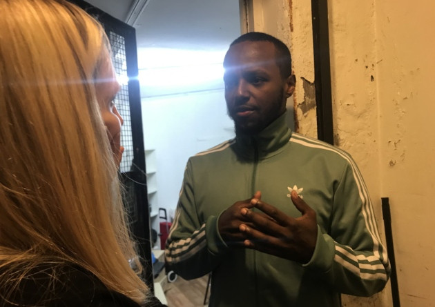 Abdi Hassan speaks to Cllr Caroline Selman about the project he supports and the need for funding. Picture: Holly Chant