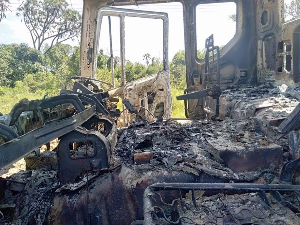Burnt vehicles belonging to H-Young construction company in lamu [Photo/Courtesy]